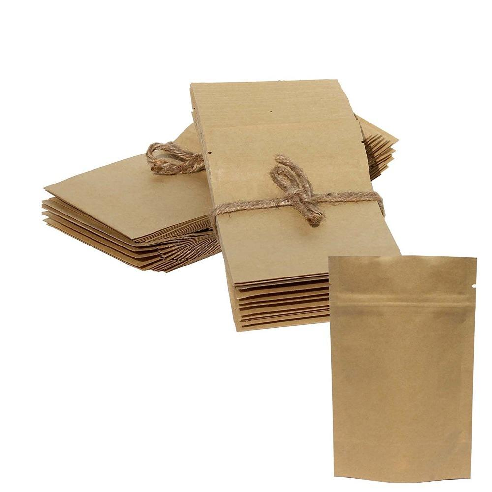 Accept Customised Bag food grade stand up ziplock logo printed kraft craft paper bags