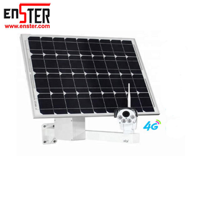 ENSTER Solar System Solar Panel 4G Sim Card Camera PTZ 4X Zoom Solar Camera Outdoor Waterproof Wireless P2p Cctv Ip Camera H.265