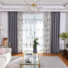 Fancy linen natural printed window curtain for living room