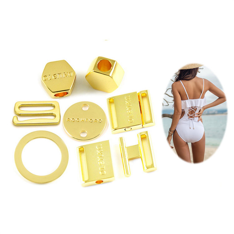 Sea Water Resist Gold Swimwear Metal Accessories Custom Beachwear Superior Swimwear Hardware Directly Factory