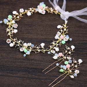 High quality new fashion flower hair jewelry boho crystal flower long hair accessories for women bride wedding hair bands