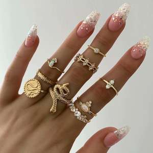 SinDlan Wholesale Personalized Snake Jewelry Set Gold Color Metal Punk Rock Ring Vintage Rings For Women
