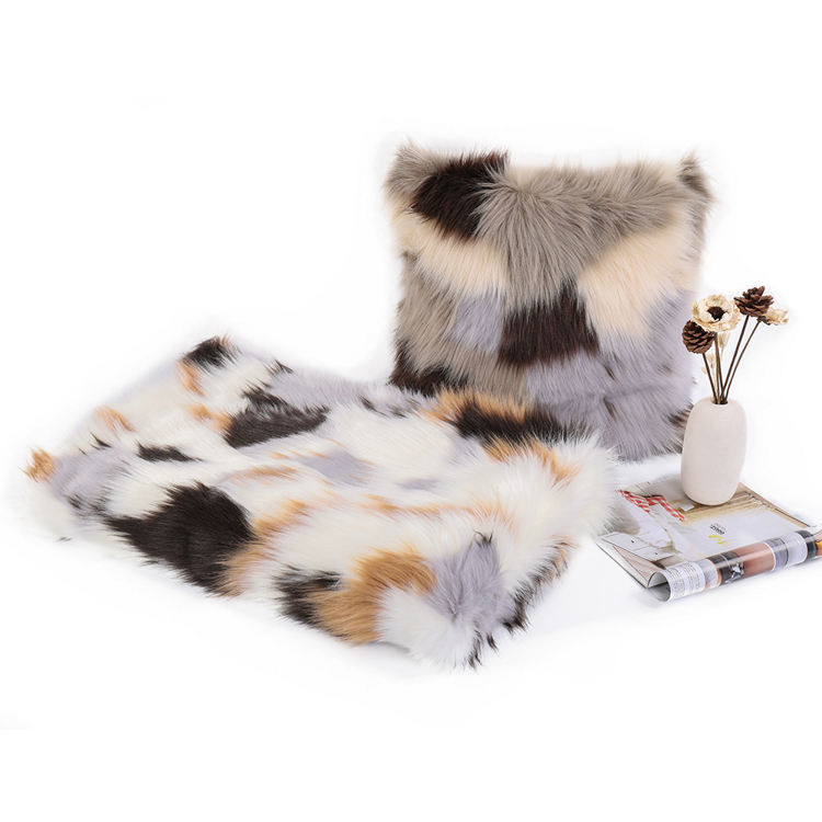 Recyclable Manufacturers colorful square jacquard plush soft warm luxury long faux fur throw blanket for winter