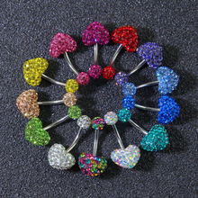 Surgical Steel Gems CZ Heart Pattern Navel Belly Button Rings