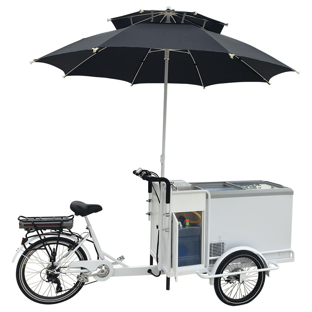 White Color Electric Cargo Vending Tricycle Ice Cream Bikes for Sale