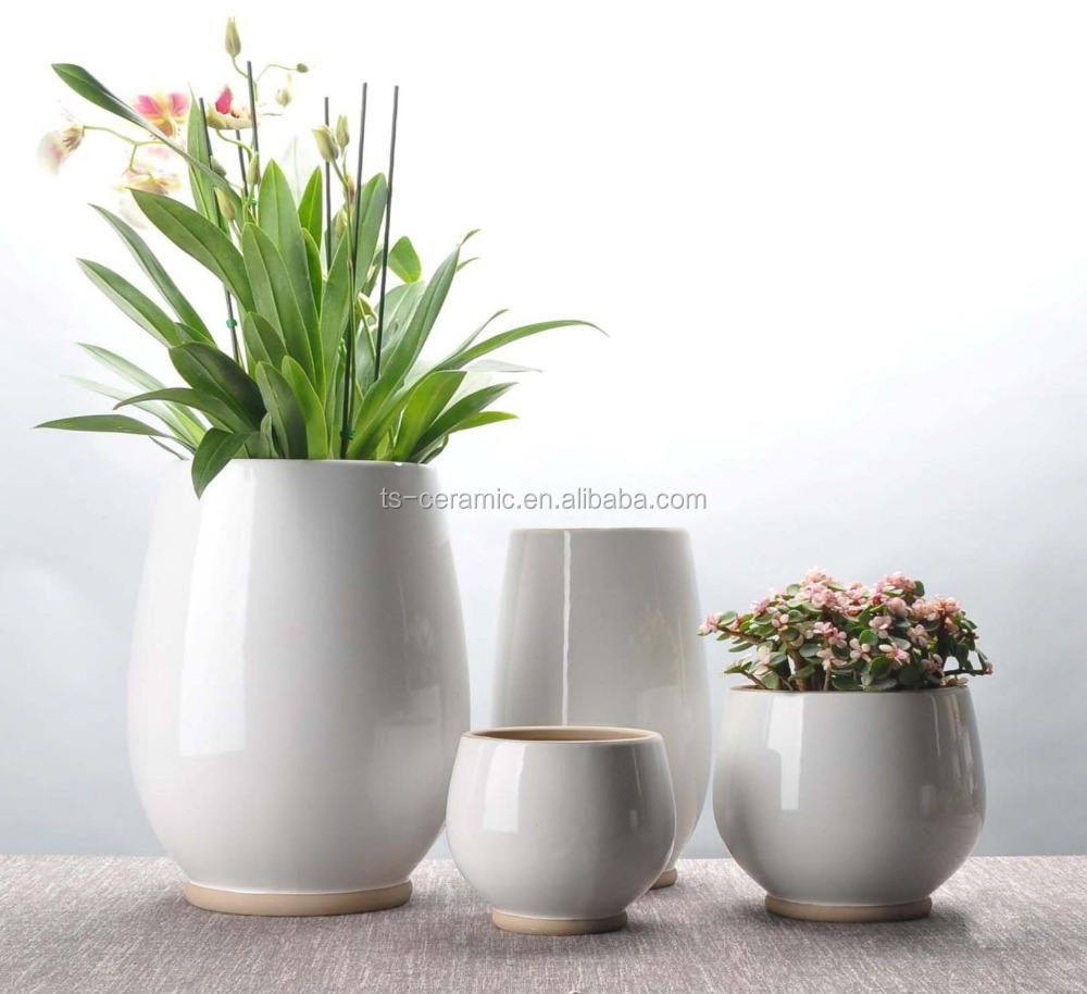 Garden white glazed big size cheap bulk planter pot wholesale ceramic flower pots