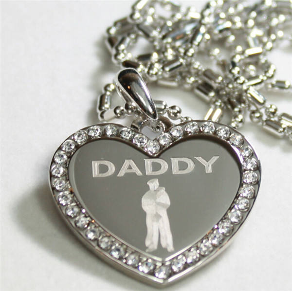 Yiwu Aceon CZ BLING HEART MILITARY SON DAD Dog Tag Father's Day Gift