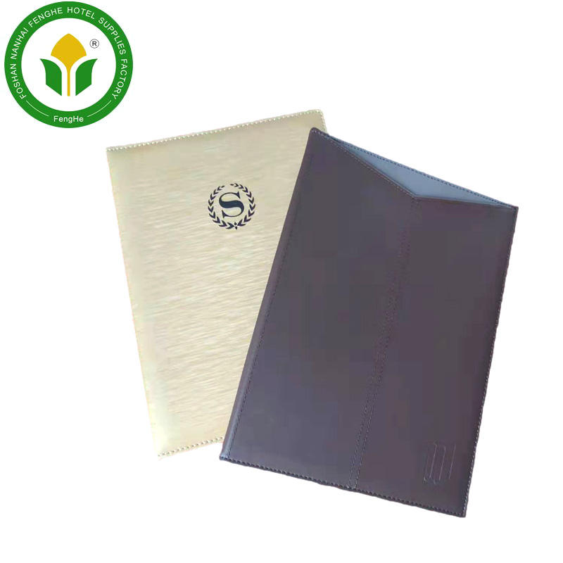 High quality restaurant A4 PU leather clip menu folder file folder wine menu folder for hotels