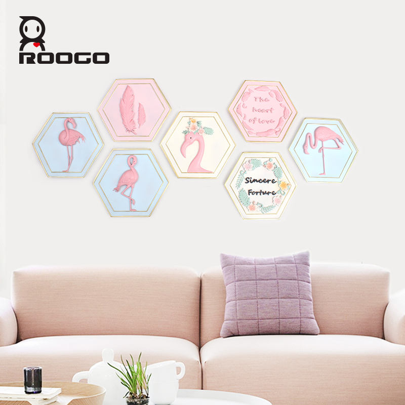 Flamingo 3D resin dekorasi rumah hiasan dinding grosir art wall decor