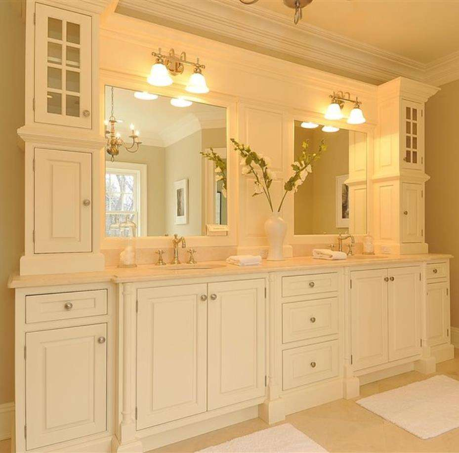 72 Inch Floor Mounted Classic American Solid Wood Bathroom Cabinets