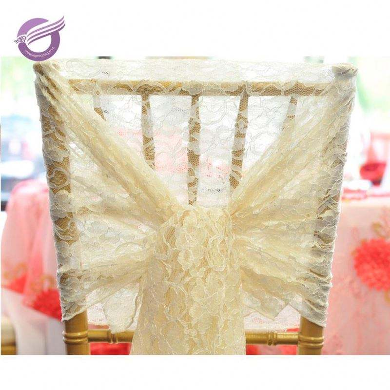 KA389 wholesale Cheap factory Wedding ivory lace Chair Sashes