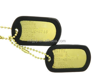 Customised OEM Cheap Personalized metal Stainless Steel Embossed Military Army Pet gold Dog tag
