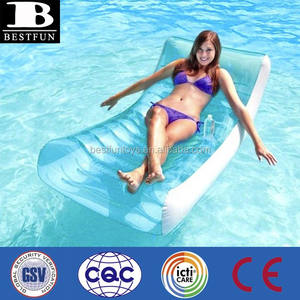 promotional customized pvc inflatable rockin' lounge luxury pool lounger inflatable bed float