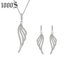 Fashion Wings Silver Clear Cubic Zirconic Jewelry Set, Women Pendant Earring 925 Sterling Silver Jewelry Set