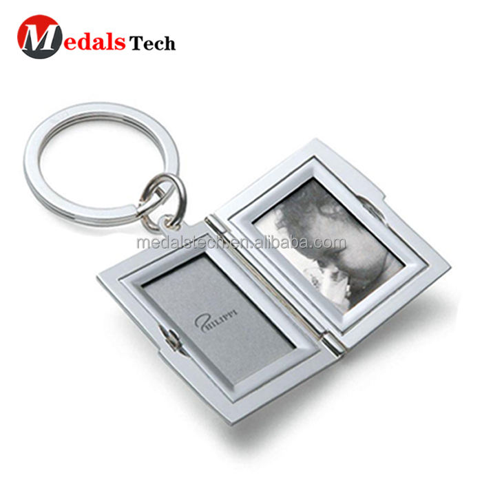 Fashion new design metal photo frame keychain with split ring