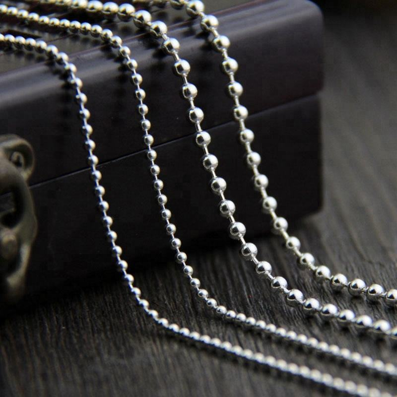 New Fashion 2-3mm Round Beads Necklace 925 Silver Chain Necklace Fine Jewelry Findings Accessory