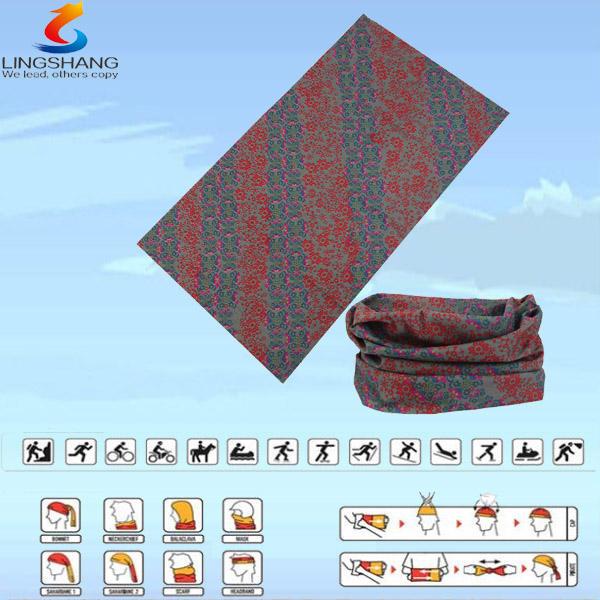 Ningbo lsb-0261 lingshang 100% esterno poliestere collo del tubo multifunzionale senza soluzione di continuità headwear