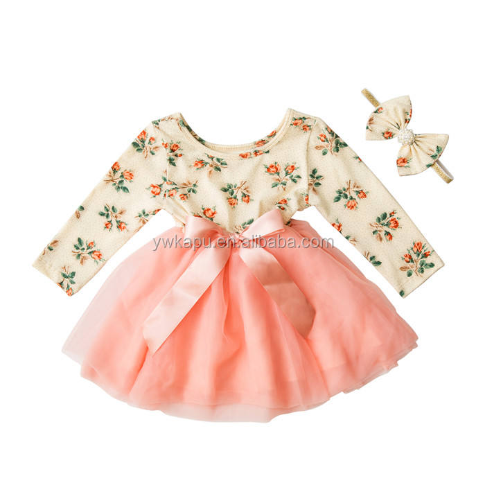 wholesale new fashion autumn boutique cute cotton long sleeve fall baby girl party dress