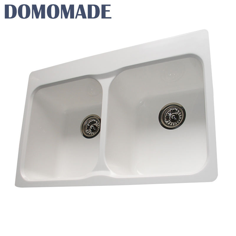 Custom Hand Made Double Bowl Modern Undermount Basins Lebrillos White Kitchen Sinks
