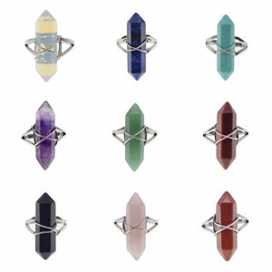 New Fashion Natural Semi Precious Batu Hexagonal Prism Manik-manik Dibungkus Kawat Perak Chakra Charms Kristal Rings
