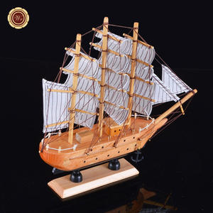 Wr Handgemaakte Houten Model Schip Speelgoed Holiday Home Office Decor Geschenken Collectible Houten Ambachten Bureau Ornamenten 24*7*24 cm