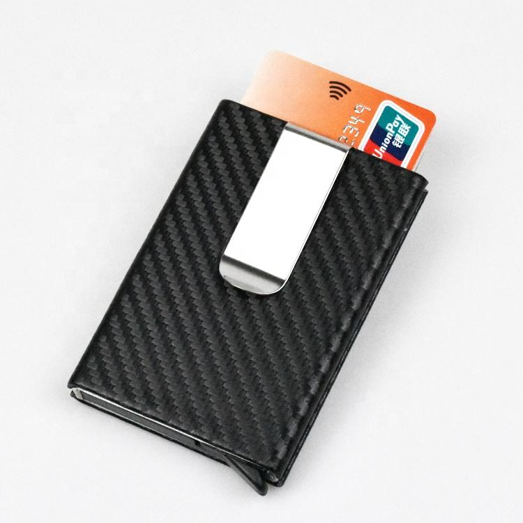 Wholesale Custom Men 2020 Minimalist Slim Aluminum Wallets RFID blocking carbon fiber leather credit card holder with money clip