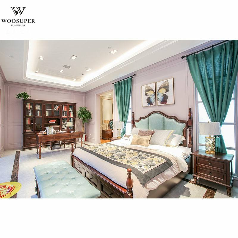China factory price bedroom luxury furniture wood platform king bed set with leather back