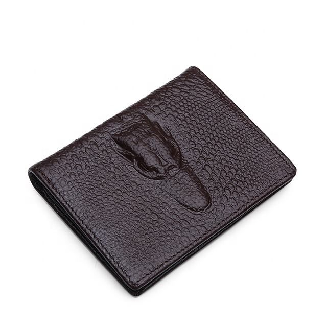 Purse short leather wallet crocodile print fashion leisure bag multi-functional leather short wallet