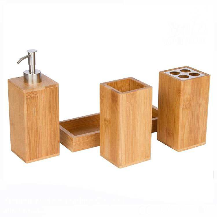 4 Pcs Fancy Natural Wooden Bamboo Bathroom Accessories Set