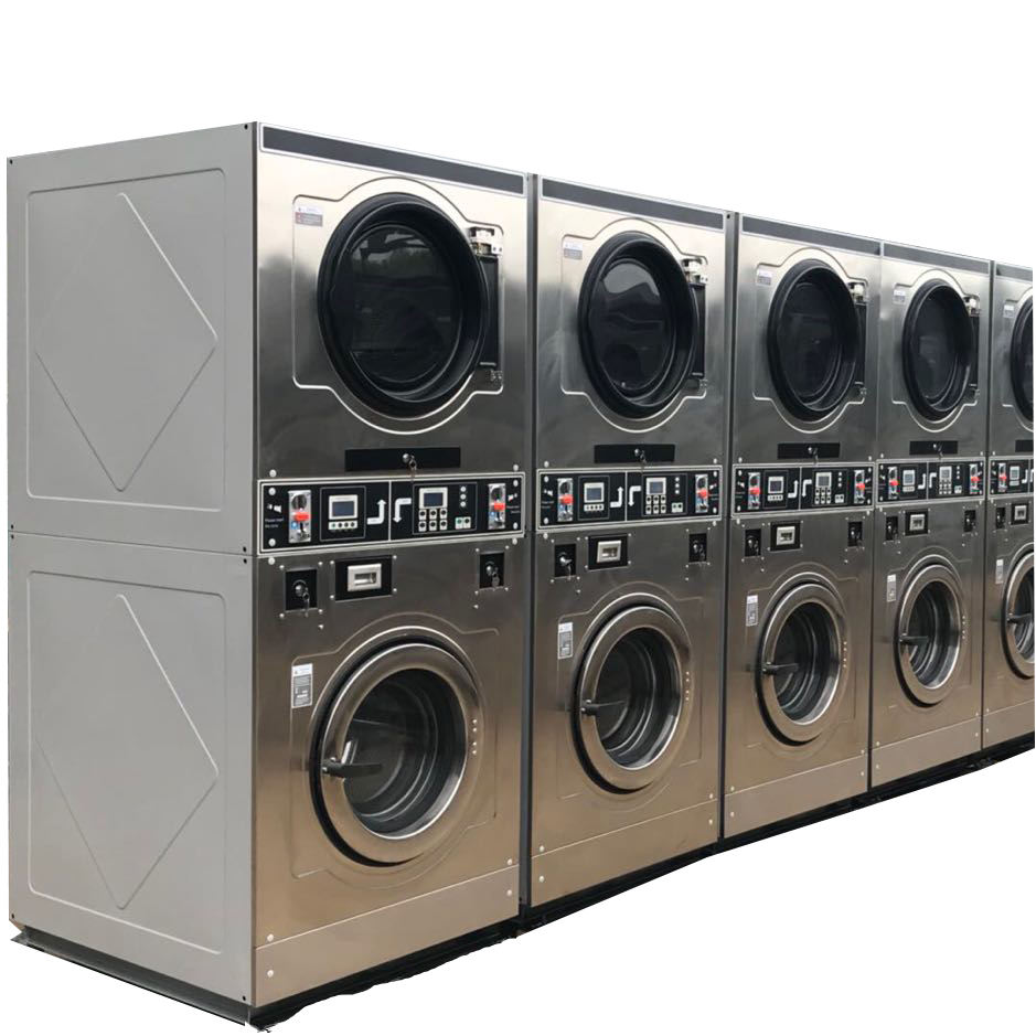 15kg double stack industrial washing machine washer and dryer for laundromat