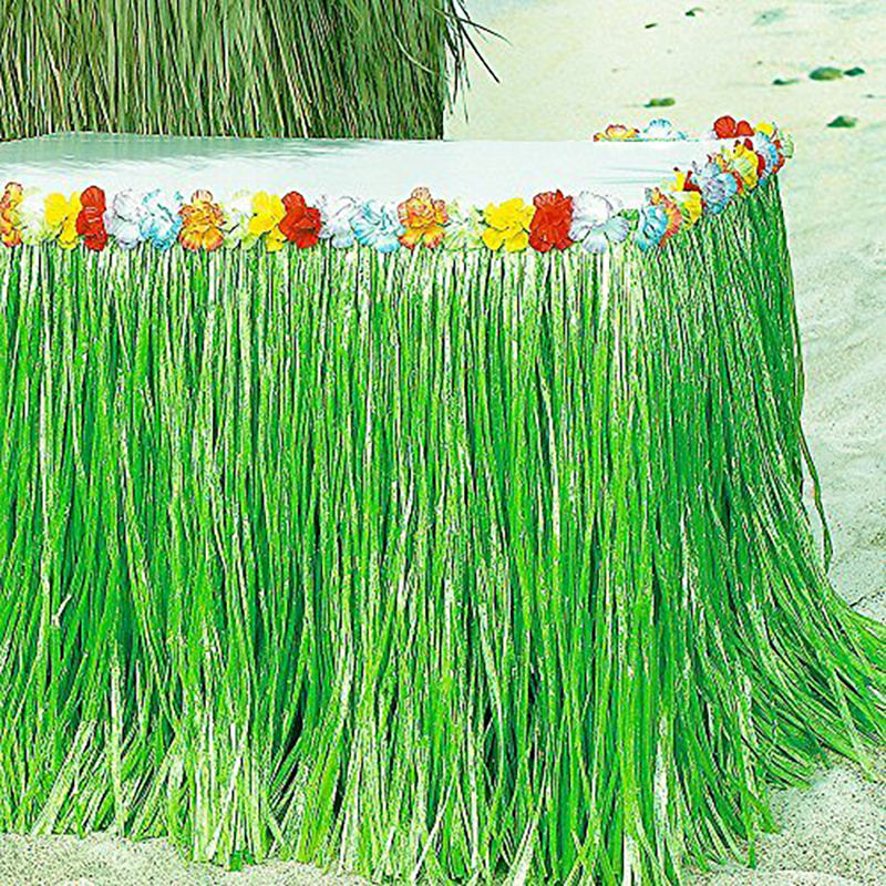 Hawaii Décoration De Table De Fête Hawaïenne D'herbe Verte Jupes de Table