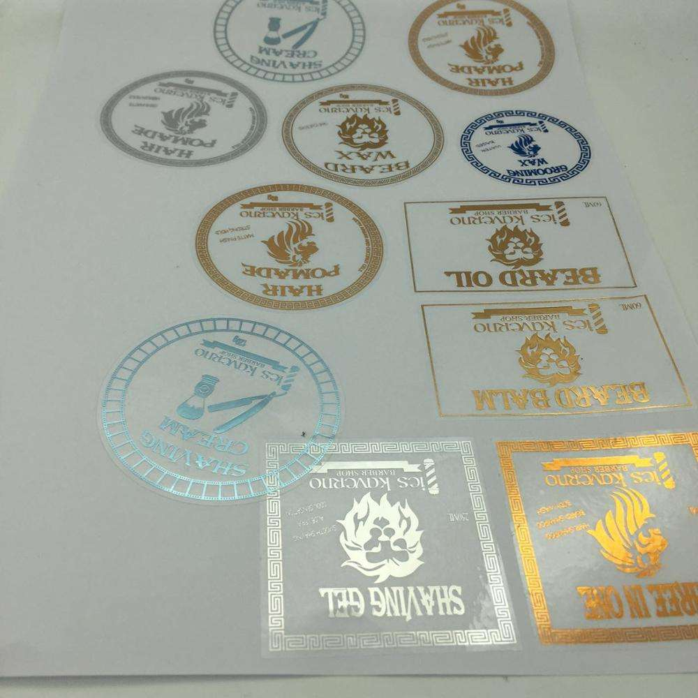 Custom transparent PVC Sticker Label foil Stickers with gold copper silver foil stamping