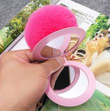 Yongze fashion pvc leather anti-broken cute mirror keyring with rabbit fur pompon keychain plush ball pendant custom key chain