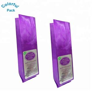 Custom printed aluminum foil side gusset bag with valve coffee bean packaging