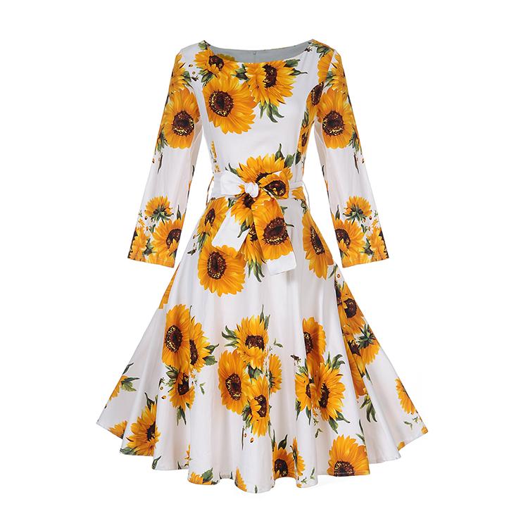 Último diseño amarillo girasol impresión otoño al por mayor de señora de la Oficina vestido formal