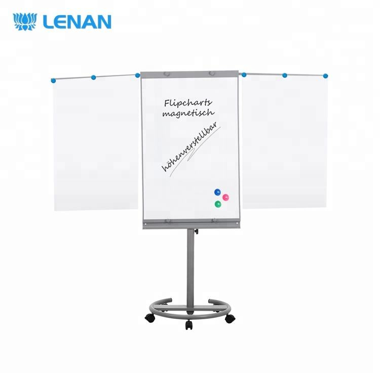 Mobile white board flip chart stand height adjustable magnetic whiteboard flipchart easel flip chart board with wheels