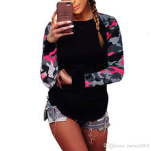 Hot sales Plus Size 5XL Top Tee Autumn Long Sleeve Patchwork Women Print O-neck Camouflage Tshirt