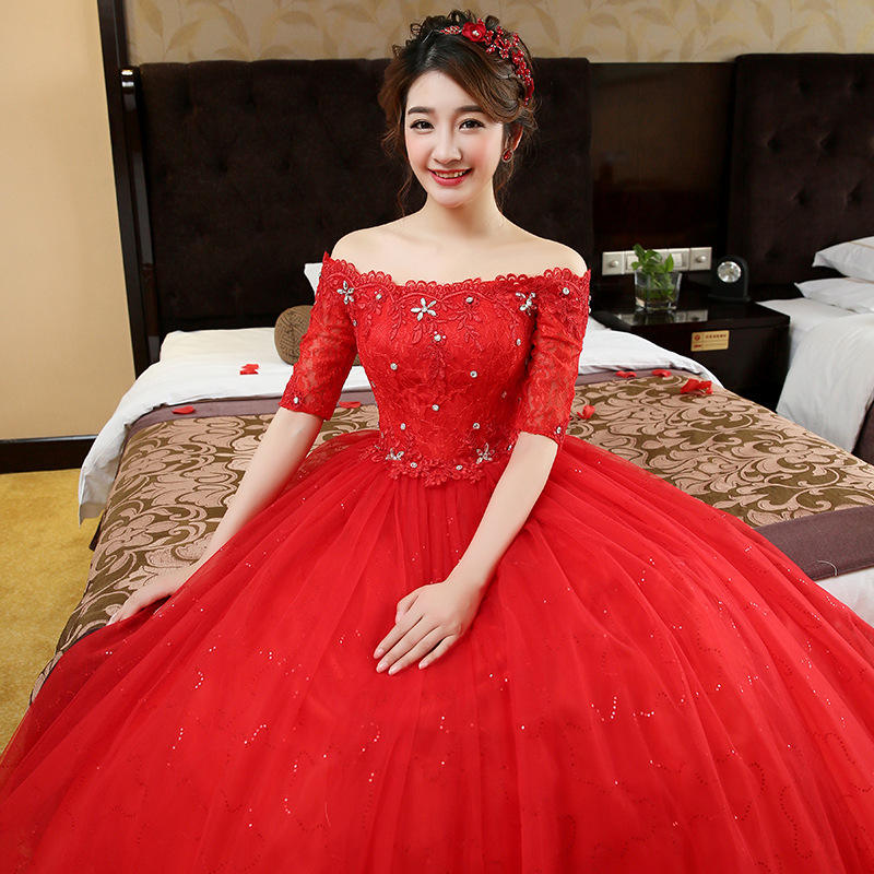 Charming A-Line Half Sleeve Tulle Lace Appliques Vintage White Red Wedding Dress