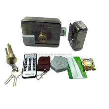 One set smart electric rim lock with brass cylinder and card reader