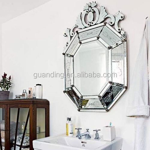 hot selling simple style frameless engraved patterns bathroom venetian wall mirror in a low price
