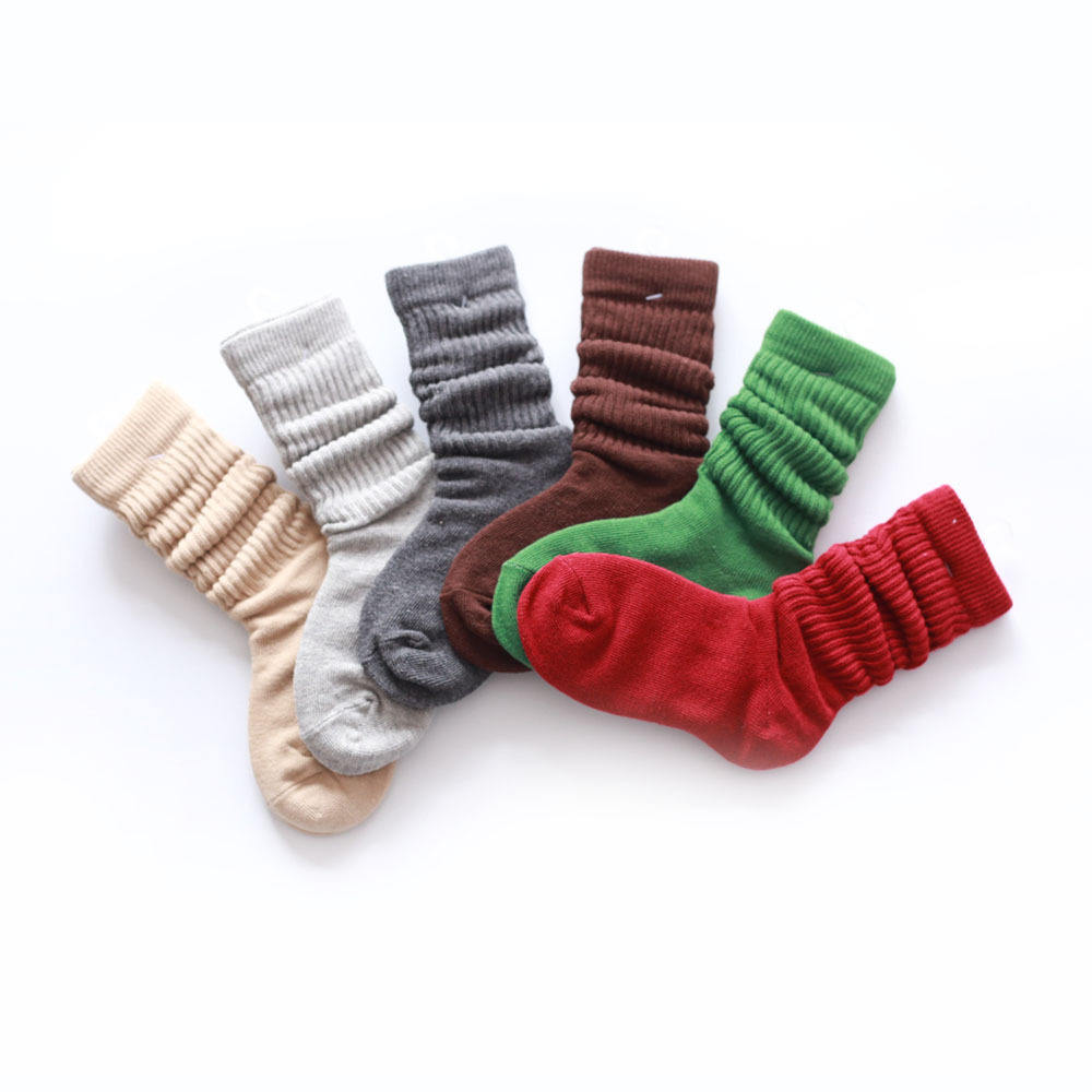 BONYPONY Kids Girls Spring Autumn Lovely Loose Socks Candy Color Combed Cotton Middle Tube Socks