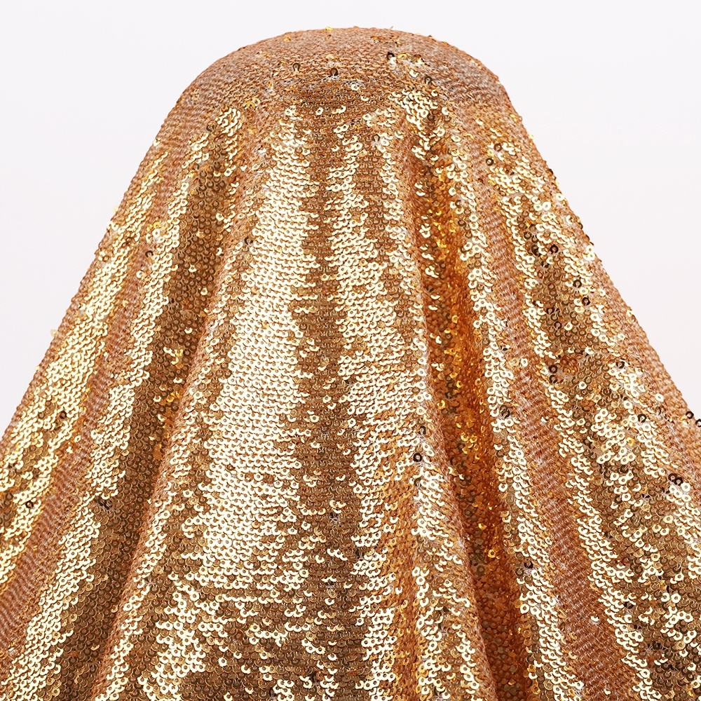 100% Polyester Omkeerbare 3mm Hoge Kwaliteit Flash Geel Gold Sequin Stof