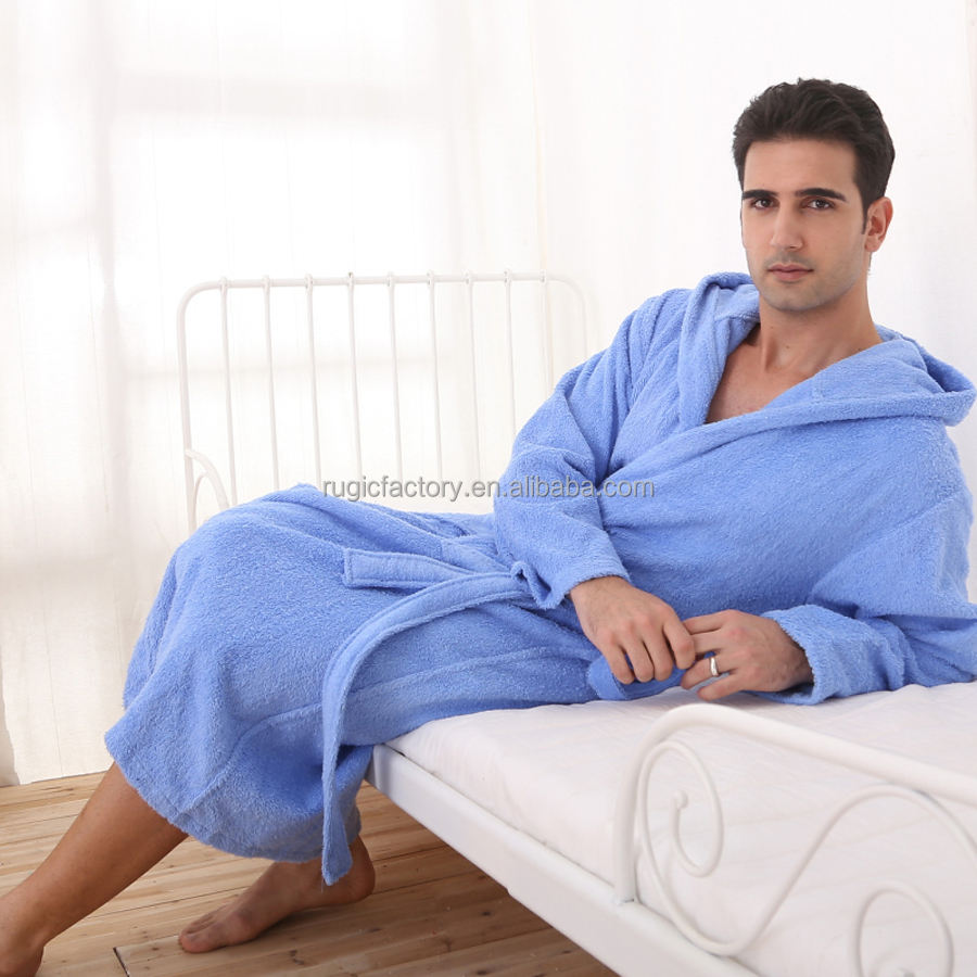 Fashion Nightgown For men 100% Cotton High Quality Men Bathrobe Solid Color