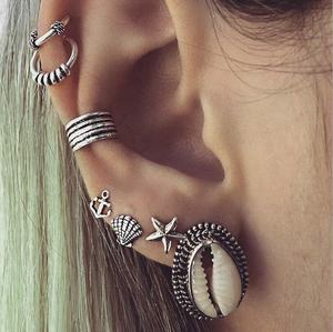 7Pcs/Set Natural Shell Star Anchor Stud Earrings Fashion Boho Silver Statement Earrings For Women Vintage Earring Accessories