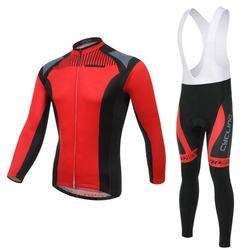 Custom China Sport Bike Clothing Winter Long Sleeve Cycling Jersey Sets Long Bib Pants Bicycle Jersey Sets