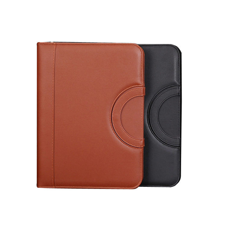 A4 Leather Portfolio Folder with Calculator Business Zipper Loose Leaf Binder File Folder Manager Bag Mens Leather Organizer
