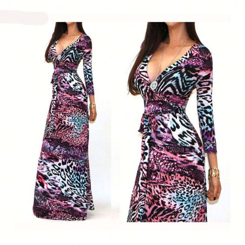 High quality long sleeve maxi dress long dress v-neck new style dress