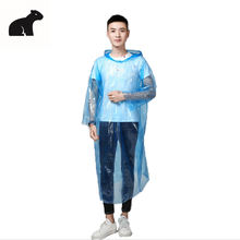 Transparent Disposable Raincoats with Sleeve pe Rain Poncho Adult raincoat in stock isolation gown waterproof