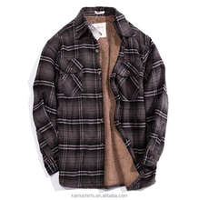 Mens Quilted Flannel Sherpa Lining Winter Warm Shirts