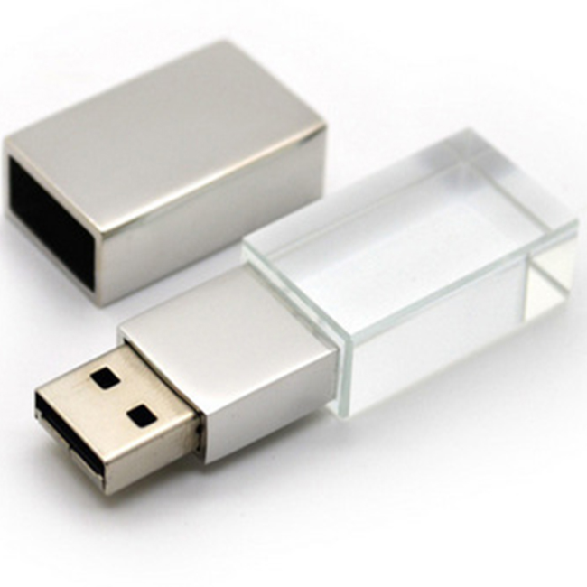 Hot Selling Custom Logo Crystal 4gb 16gb Usb 3.0 Pendrive 8gb OEM 3D Logo Glass Usb Flash Drive